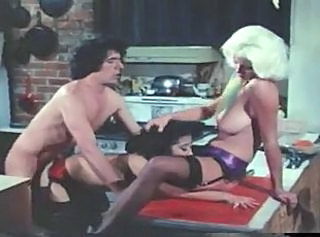 Kitchen Licking  Stockings Threesome Vintage