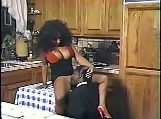 Big Tits Clothed Ebony Kitchen Licking  Vintage