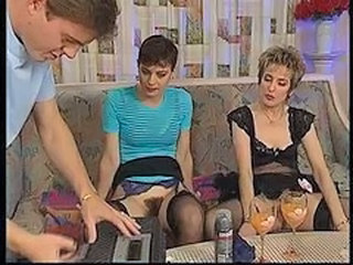 European German Mature Stockings Threesome Vintage