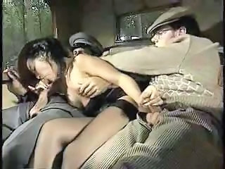 Blowjob Car European Italian  Stockings Threesome Vintage