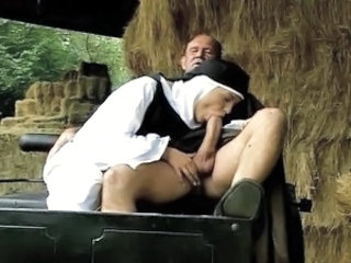 Blowjob Clothed Farm Nun Outdoor Uniform Vintage